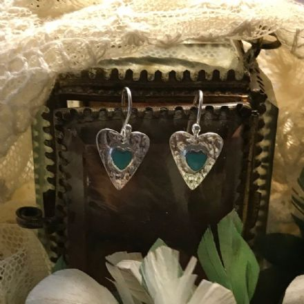 Silver Hearts with Turquoise Earrings by Sea Gems